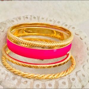 J CREW BANGLE BRACELET SET of 4 Hot Pink & Gold